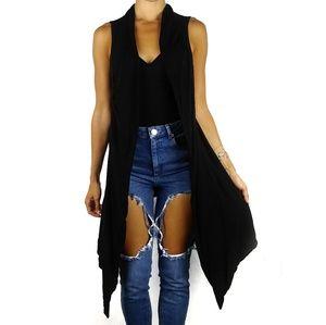 WHBM black silk blend knit vest cardigan